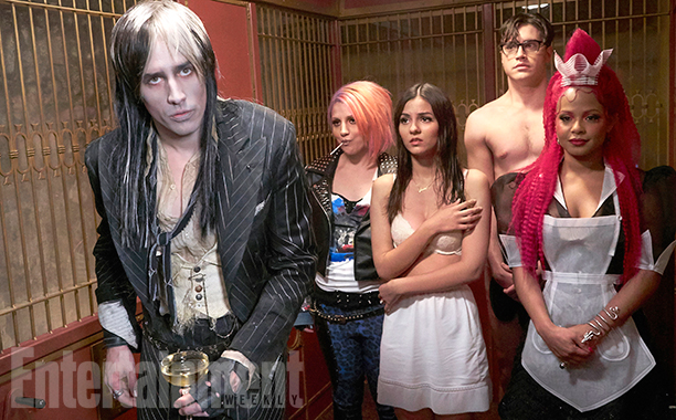 THE ROCKY HORROR PICTURE SHOW:  L-R:  Reeve Carney, Annaleigh Ashford, Victoria Justice, Ryan McCartan and Christina Milian.