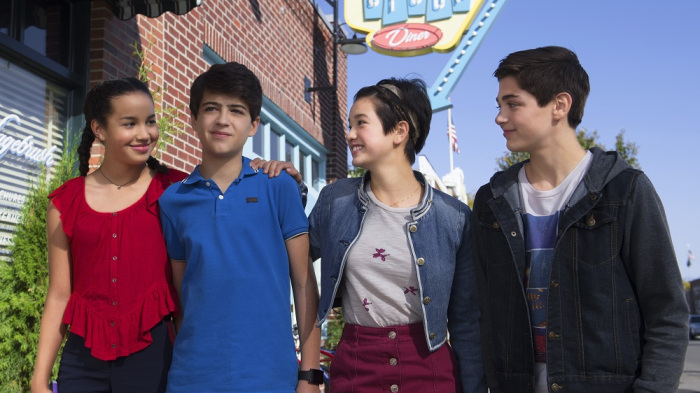 "ANDI MACK - Disney Channel's ""Andi Mack"" stars Sofia Wylie as Buffy Driscoll, Joshua Rush as Cyrus Goodman, Peyton Elizabeth Lee as Andi Mack, and Asher Angel as Jonah Beck. (Disney Channel/Photographer)"